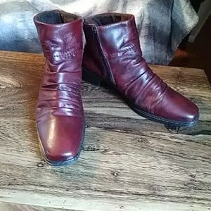 Burgundy Rieker Ankle Boots